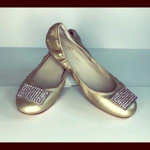 Ivanka Trump Gold Jeweled Ballet Flat Shoes